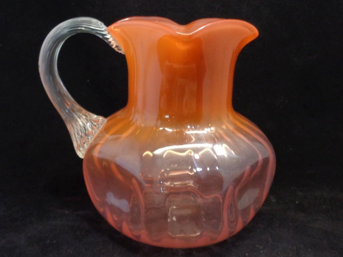 Antique Loetz Victorian Bohemian Glass Pitcher, 1890