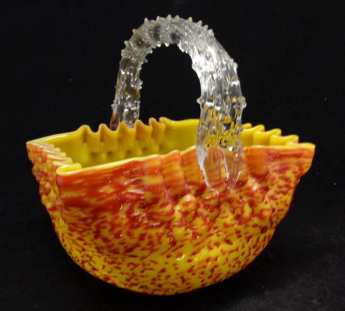 Antique Victorian Overshot Bohemian Glass Basket, 1890