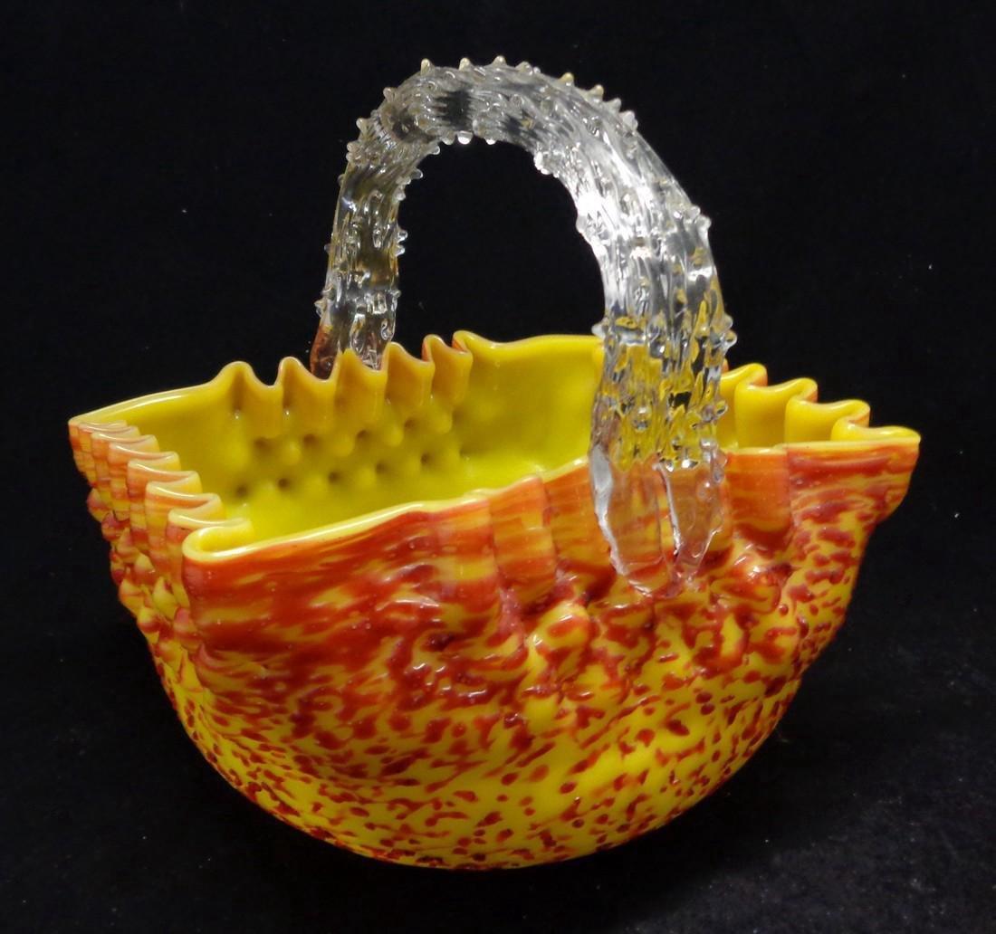Antique Victorian Overshot Bohemian Glass Basket, 1890 - 2