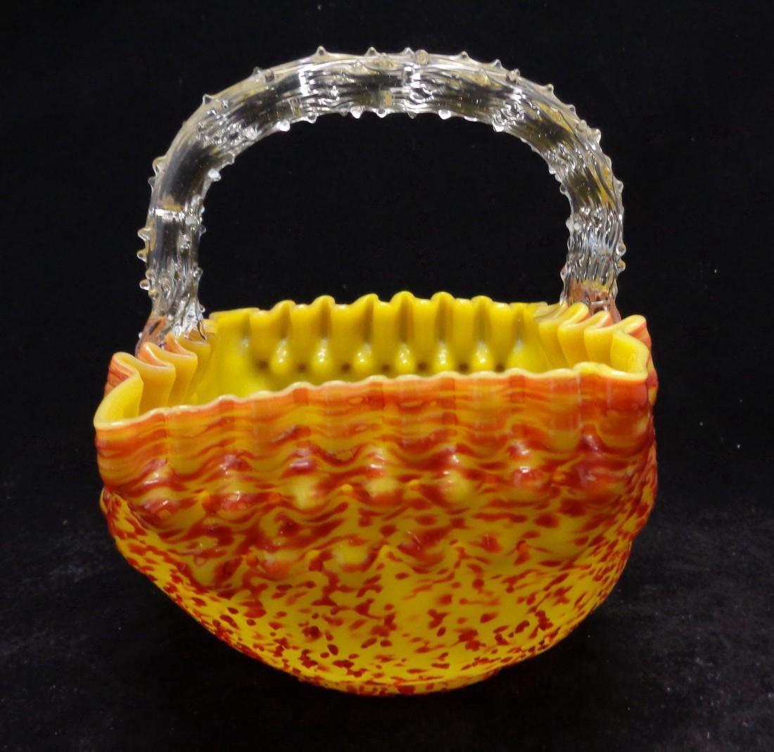 Antique Victorian Overshot Bohemian Glass Basket, 1890 - 3