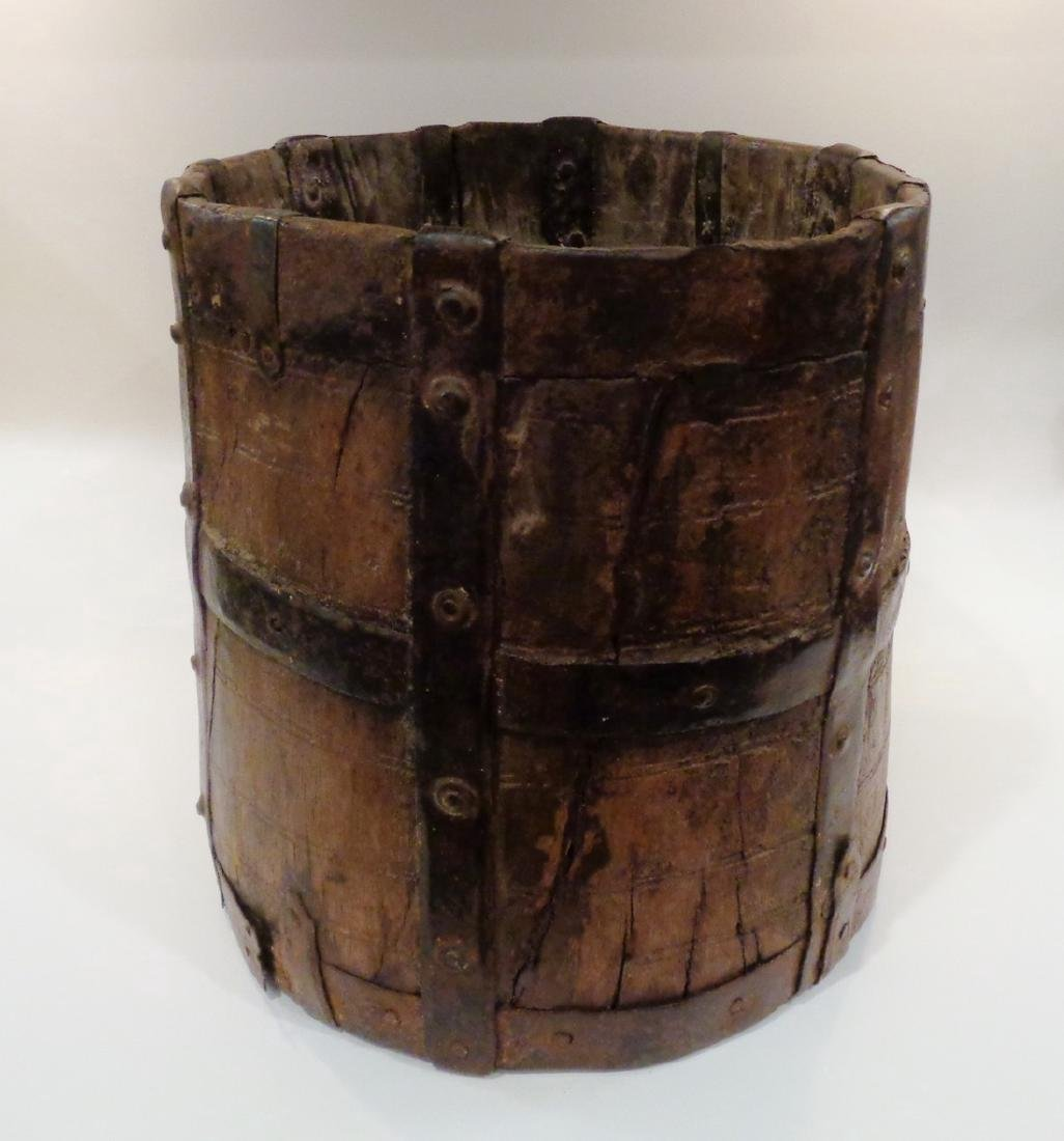 Antique Primitive Wooden Bucket - 2