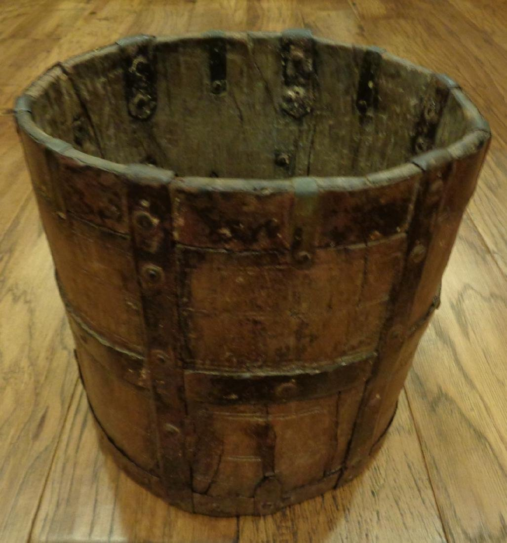 Antique Primitive Wooden Bucket - 8
