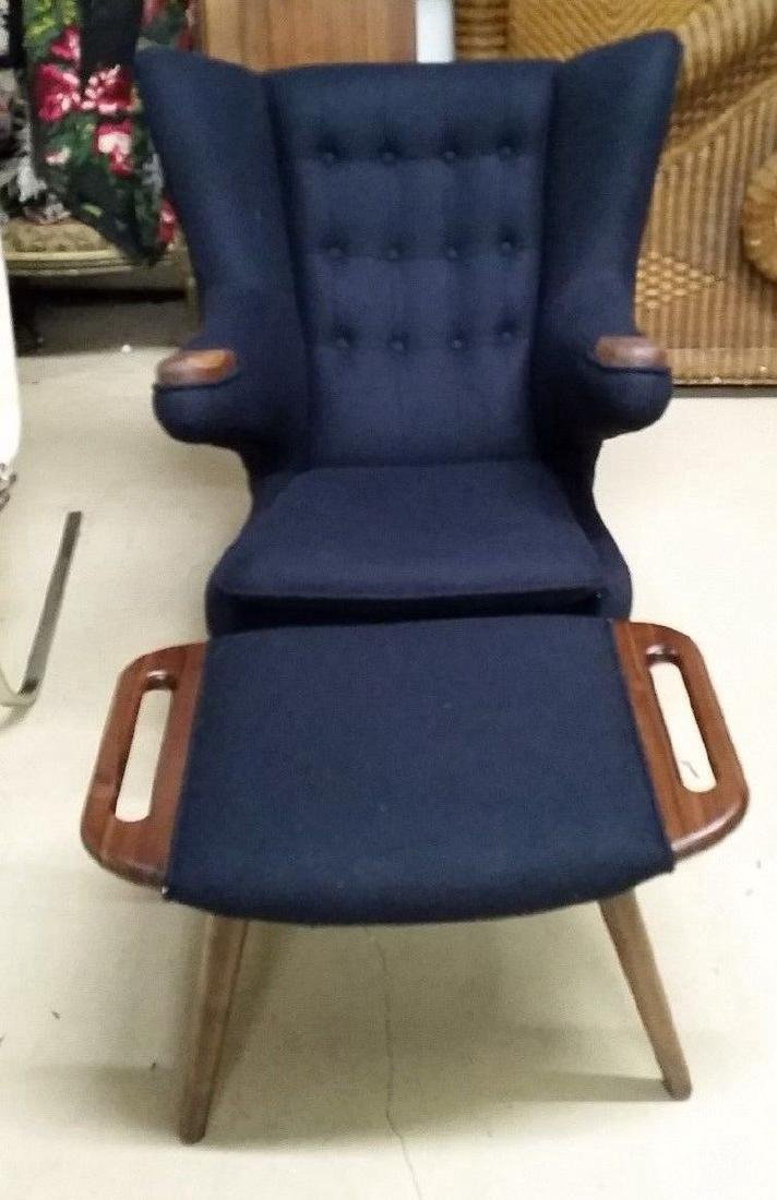 MCM Style Hans Wegner Papa Bear Chair & Ottoman Navy
