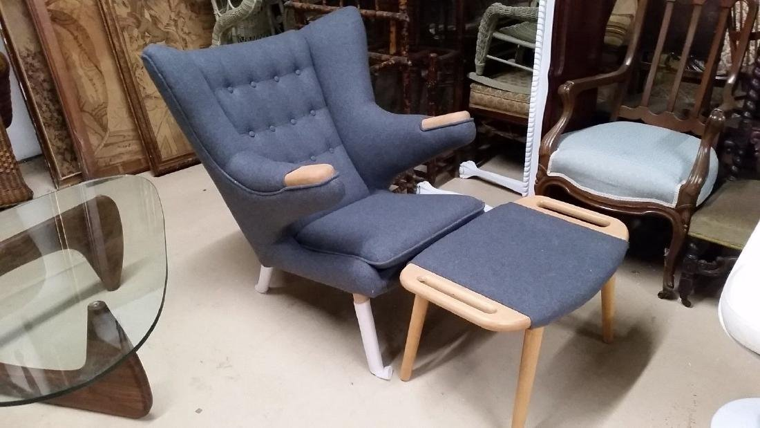 MCM Style Wegner Papa Bear Chair & Ottoman Grey Wool