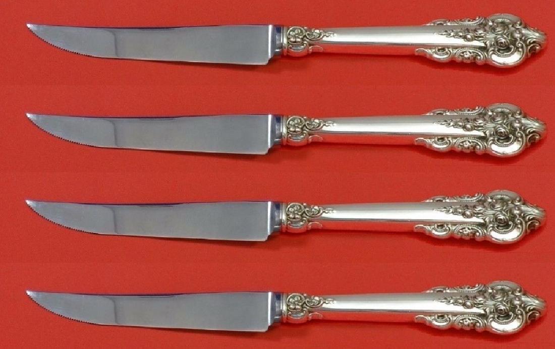 Set of 4 Wallace Grande Baroque Silver Steak Knives