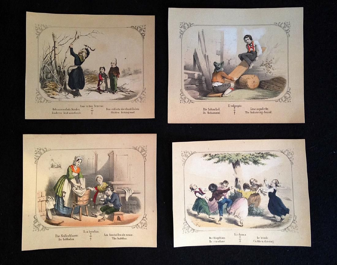 Four 19th Century Hand Colored Engravings