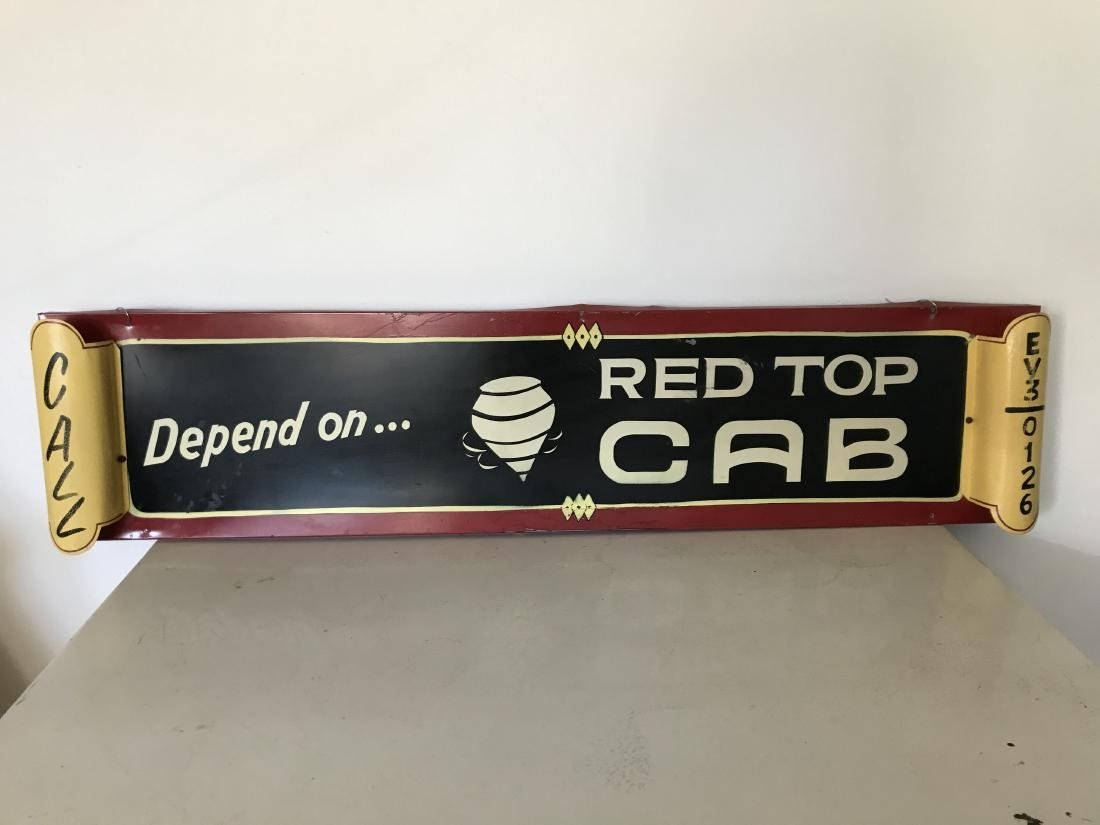 """""""Depend on Red Top Cab"""" Embossed Sign"""