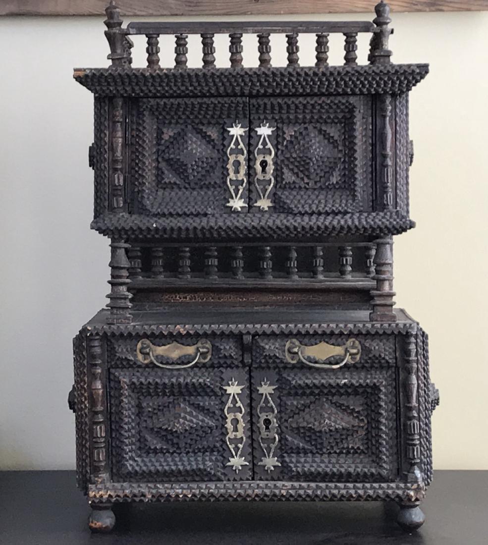 Tramp Art Miniature Cabinet Folk Art 1880s