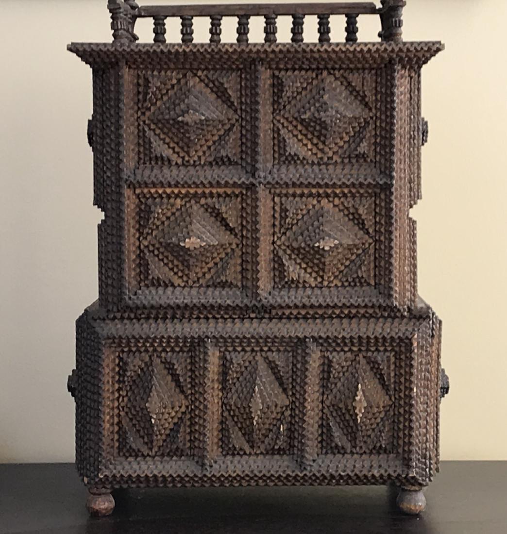 Tramp Art Miniature Cabinet Folk Art 1880s - 2
