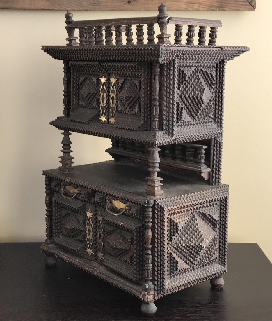 Tramp Art Miniature Cabinet Folk Art 1880s - 3