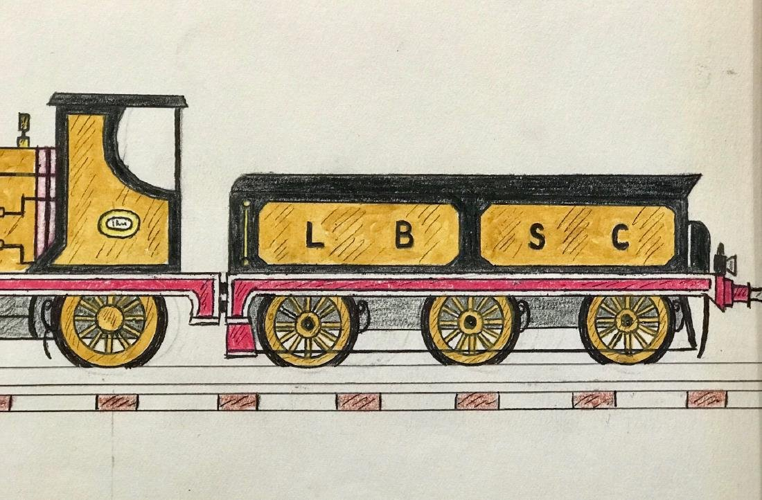 Schoolboy Train Drawing, Early 20th C, New England - 7