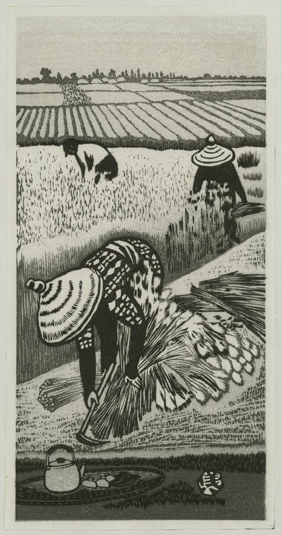 Gihachiro Okuyama Woodblock Rice Picking