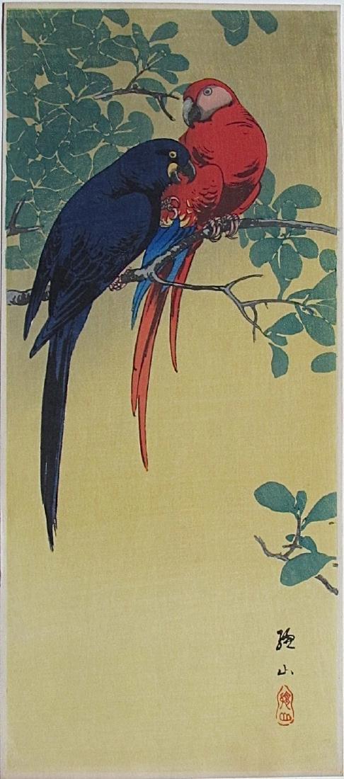 Ito Sozan Woodblock Two Macaws