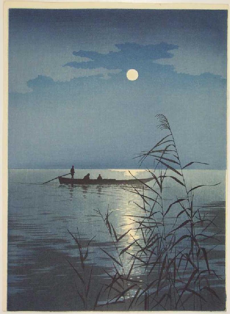 Koho Shoda Woodblock Moonlit Sea