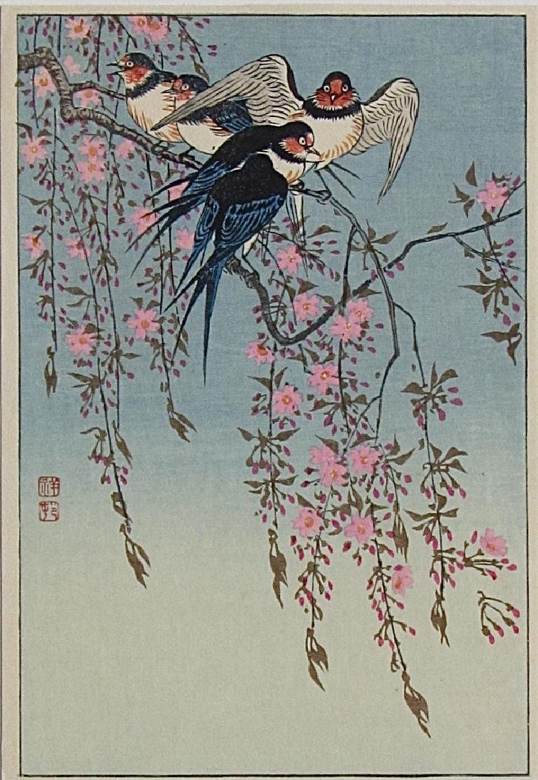 Ohara Koson Woodblock Barn Swallows