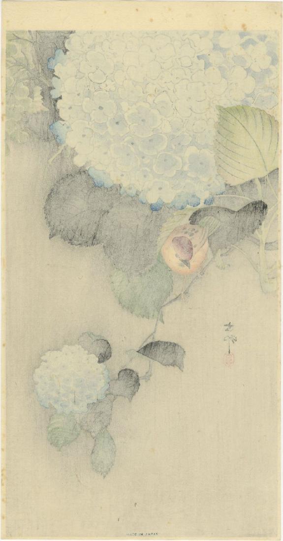 Ohara Koson Woodblock Sparrow on Hydrangea - 2