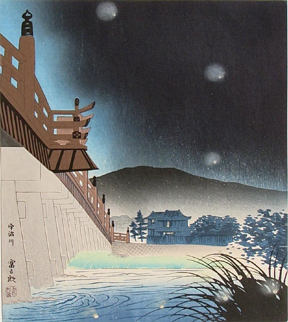 Tomikichiro Tokuriki Woodblock Fireflies at Uji River