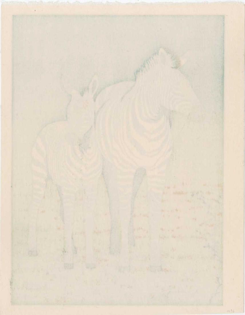 Toshi Yoshida First Edition Woodblock Zebra Mom & Foal - 2