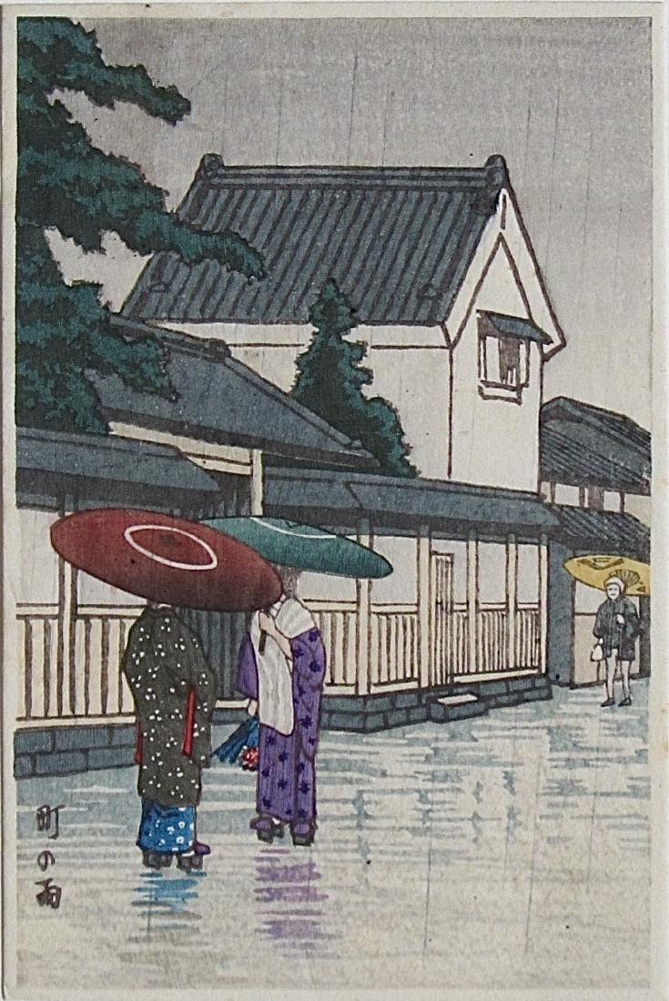 Unidentified Woodblock Umbrellas in the Rain
