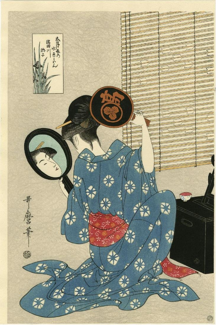 Utamaro Kitagawa Woodblock Woman with Two Mirrors