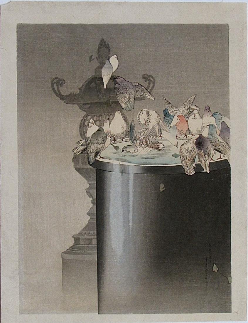 Watanabe Seitei Woodblock Pigeons on a Fountain