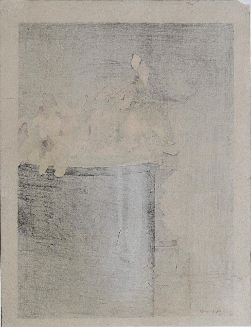 Watanabe Seitei Woodblock Pigeons on a Fountain - 2