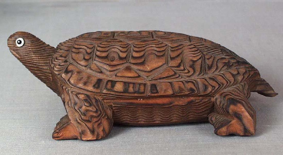 Japanese Wooden Okimono Walking Turtle Statue