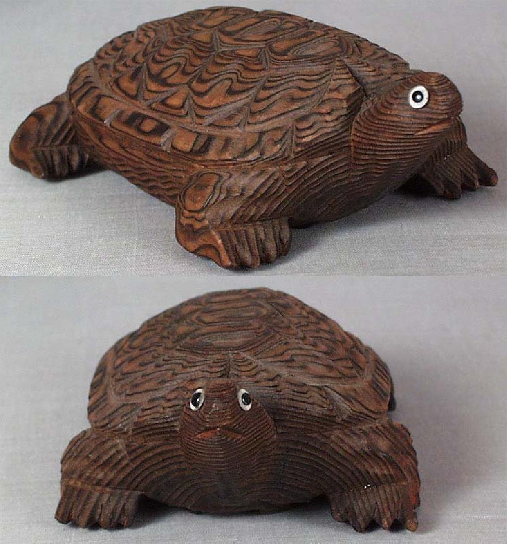 Japanese Wooden Okimono Walking Turtle Statue - 3