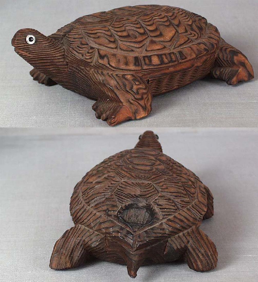 Japanese Wooden Okimono Walking Turtle Statue - 4
