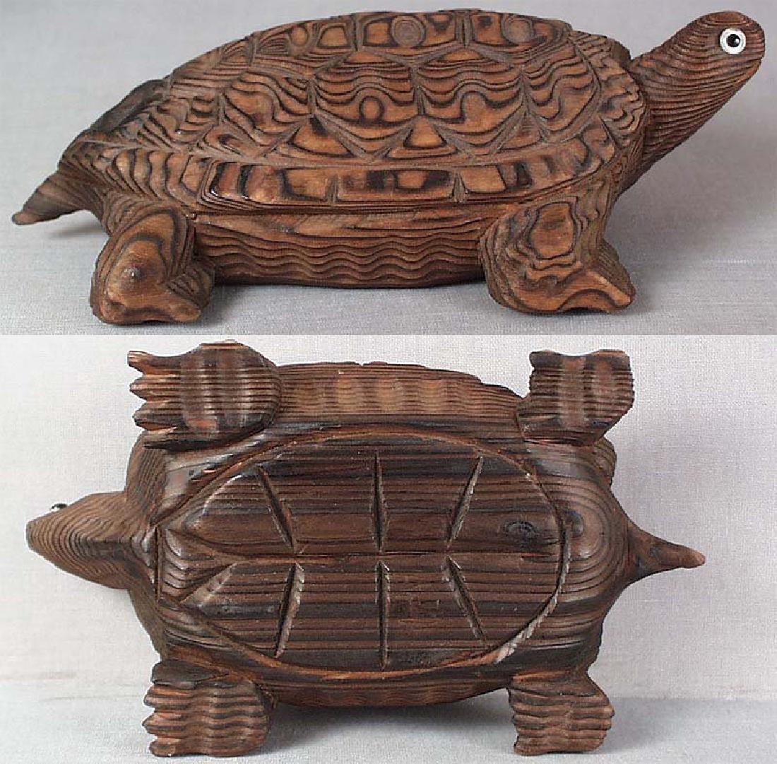 Japanese Wooden Okimono Walking Turtle Statue - 5