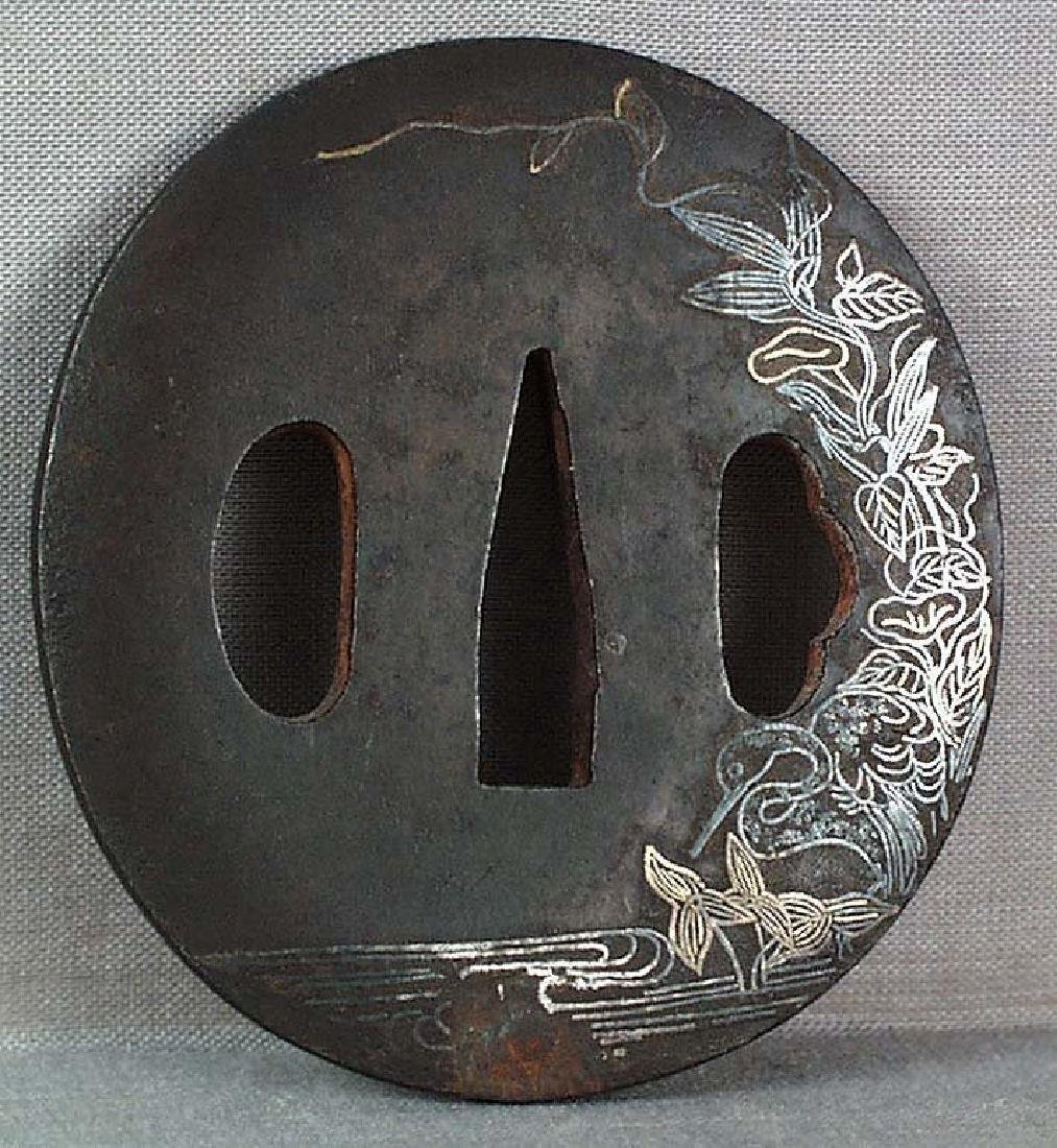 Antique Japanese Sword Tsuba Heron by Stream