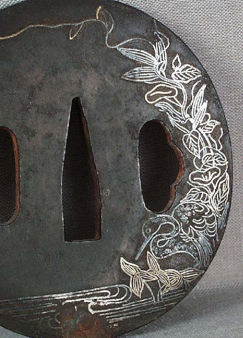 Antique Japanese Sword Tsuba Heron by Stream - 3