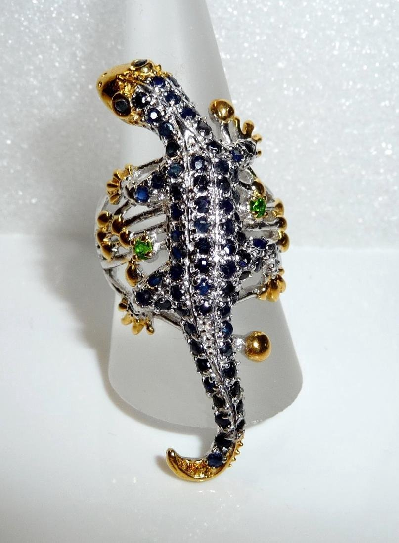 Sterling Silver Sapphire Figural Lizard Ring, 2,3ctw