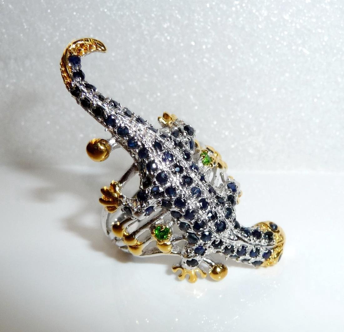 Sterling Silver Sapphire Figural Lizard Ring, 2,3ctw - 2