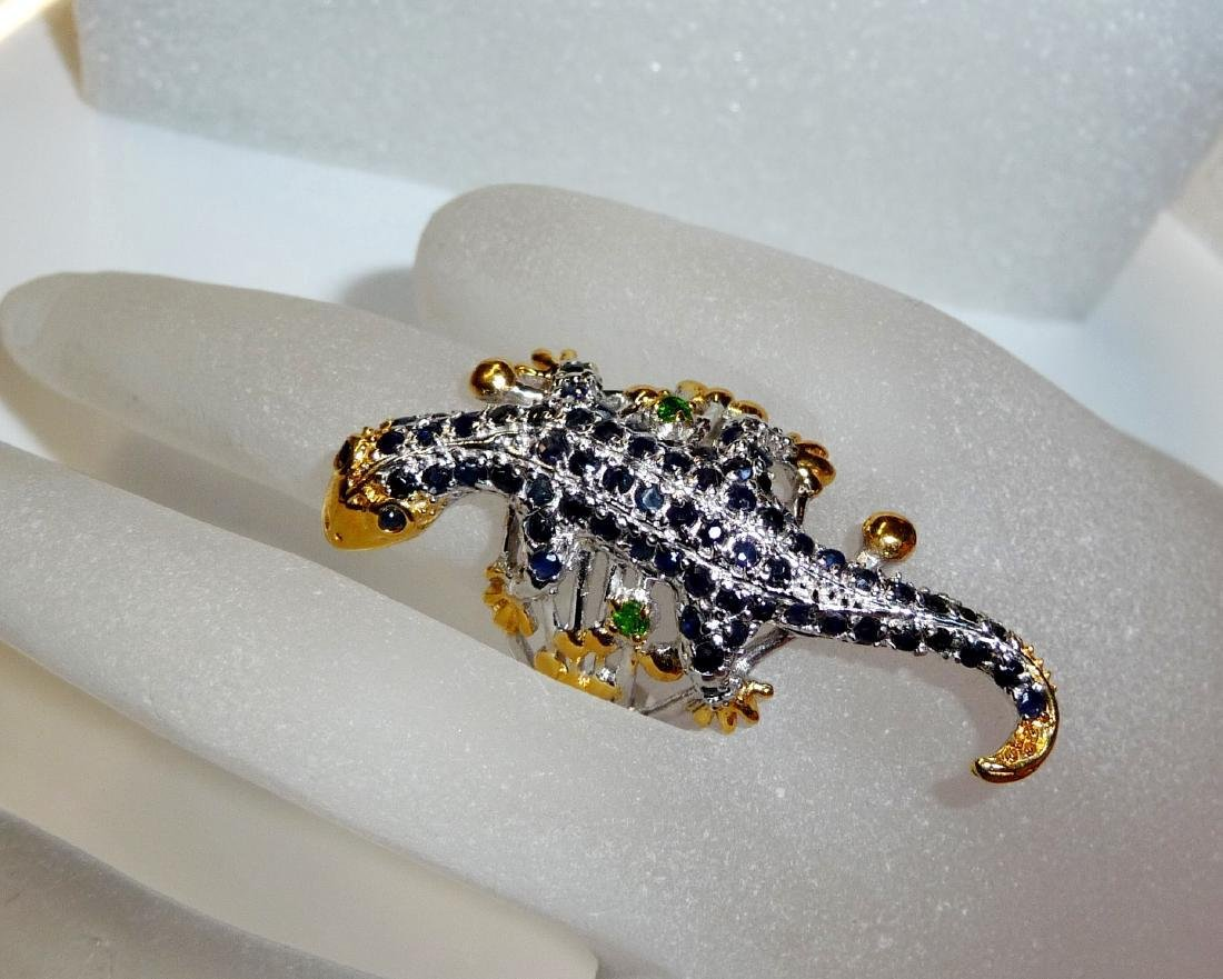 Sterling Silver Sapphire Figural Lizard Ring, 2,3ctw - 4