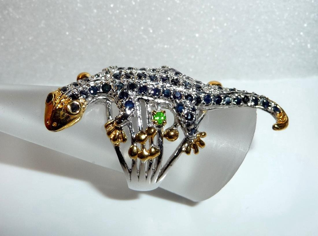 Sterling Silver Sapphire Figural Lizard Ring, 2,3ctw - 8
