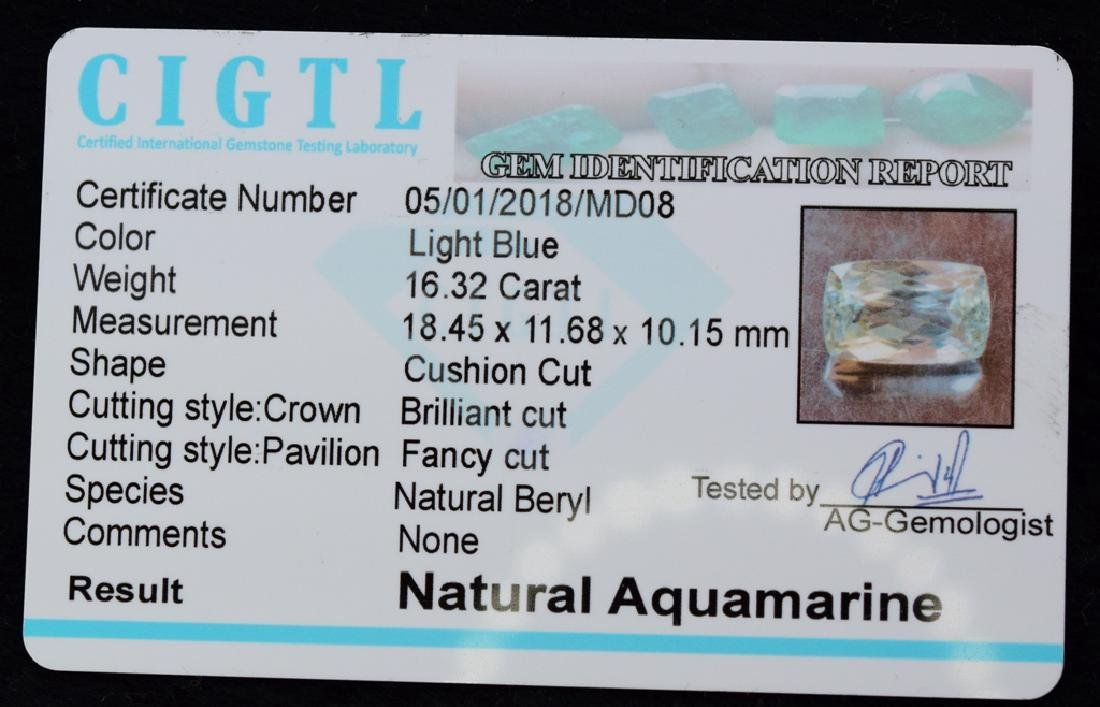 16.32 Carat Loose Natural Aquamarine - 3