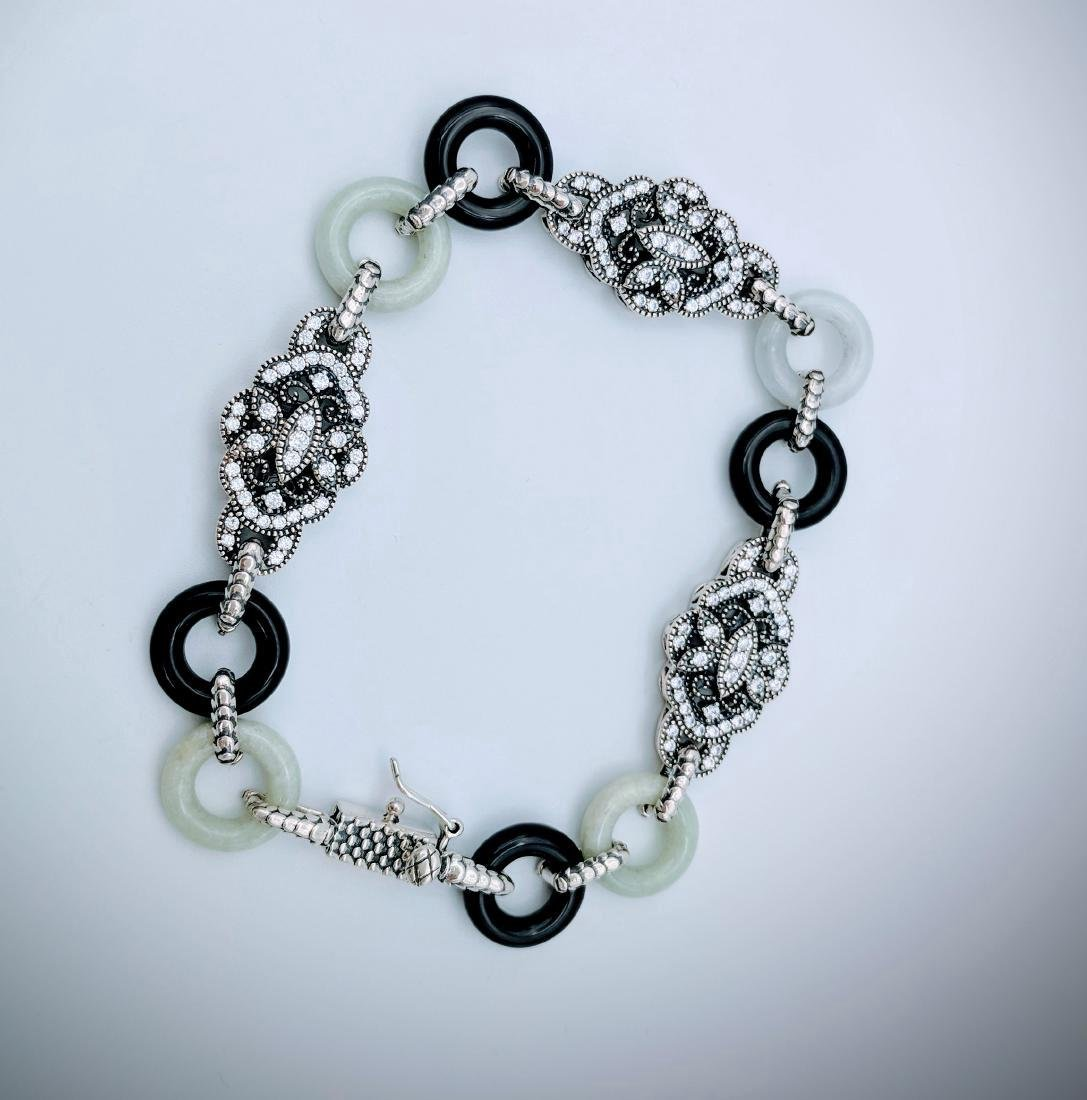 Sterling Silver Vintage Design Jade CZ Bracelet