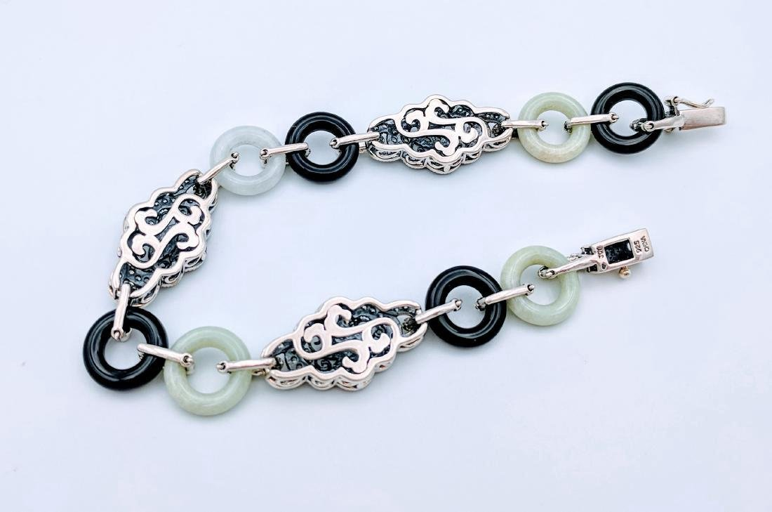 Sterling Silver Vintage Design Jade CZ Bracelet - 2