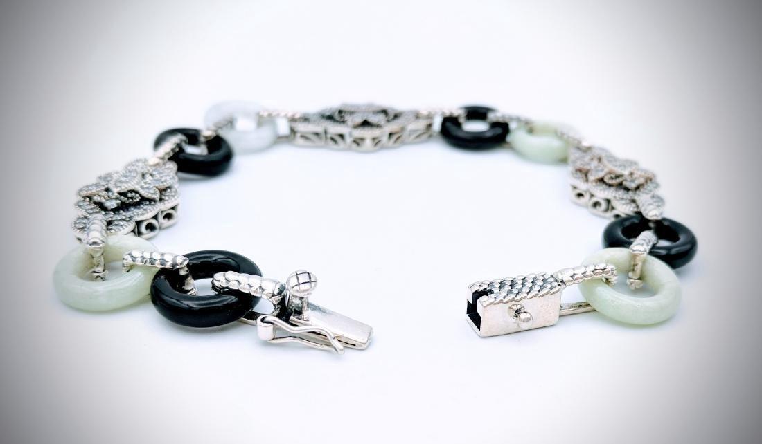 Sterling Silver Vintage Design Jade CZ Bracelet - 3