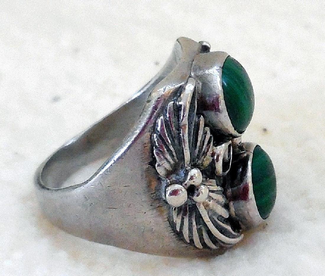 Vintage Native American Sterling Silver Malachite Ring - 4