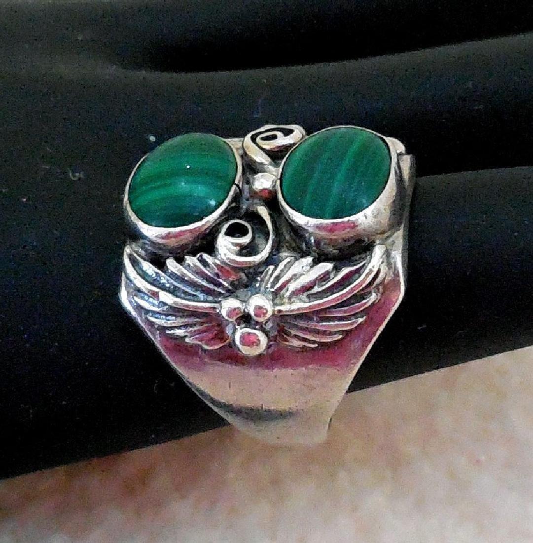 Vintage Native American Sterling Silver Malachite Ring - 5