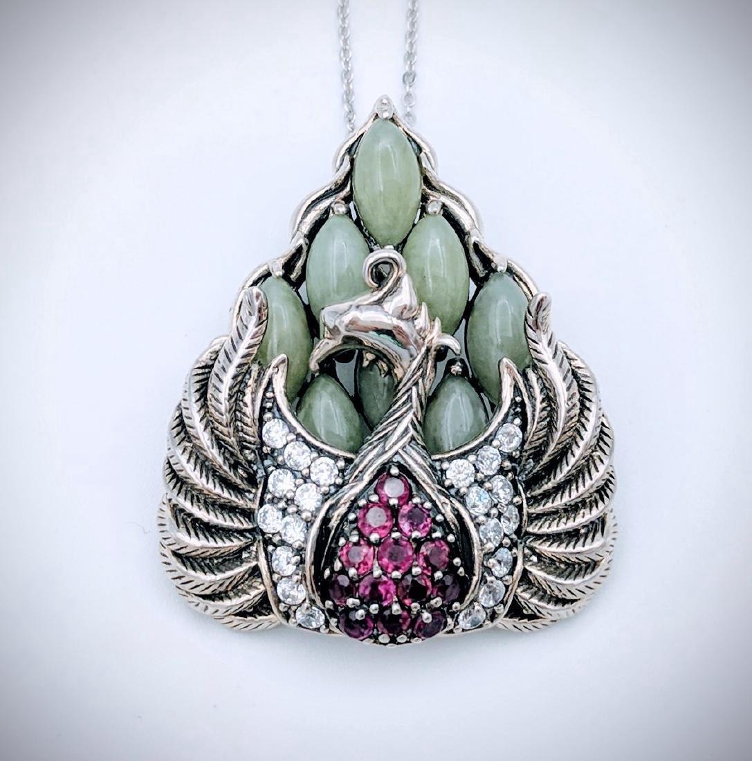 Sterling Silver Phoenix Design Amethyst Jade Necklace