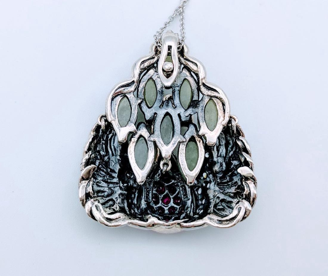 Sterling Silver Phoenix Design Amethyst Jade Necklace - 2