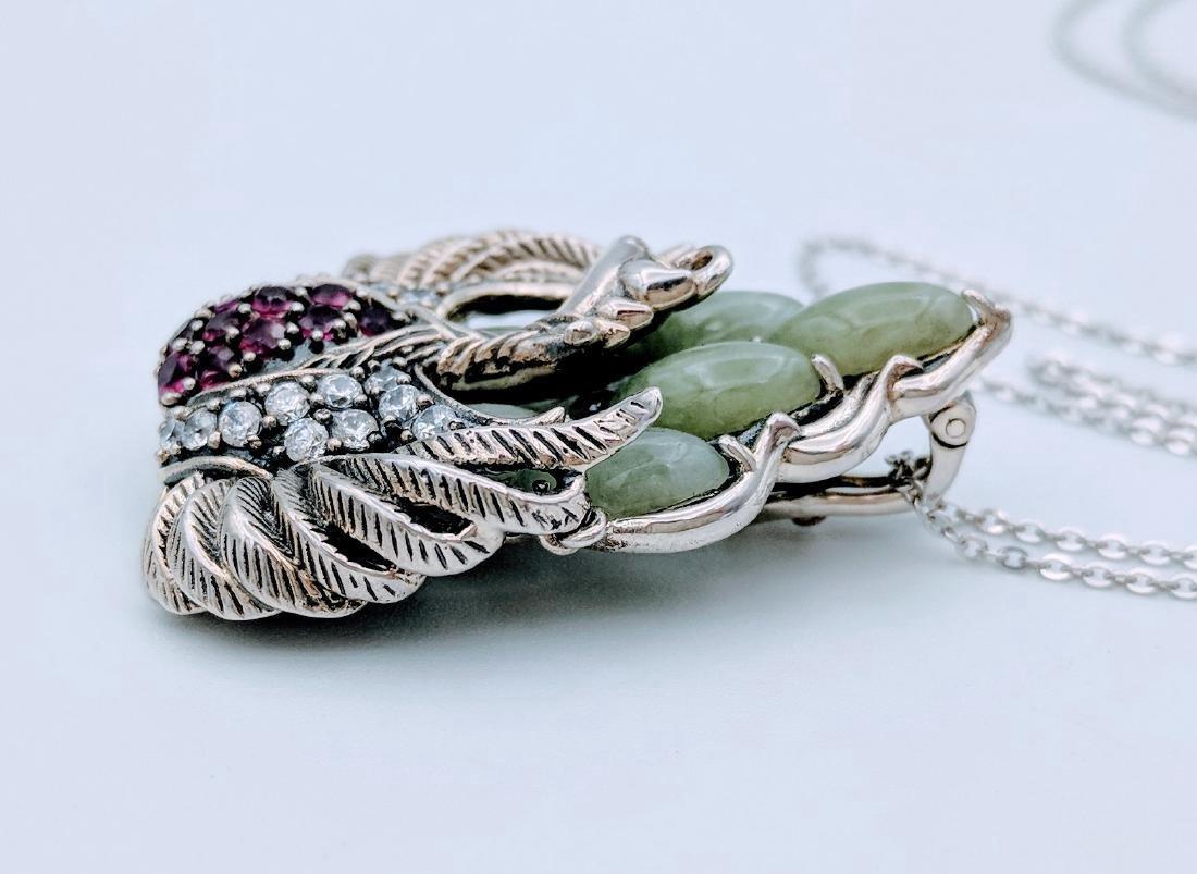 Sterling Silver Phoenix Design Amethyst Jade Necklace - 3