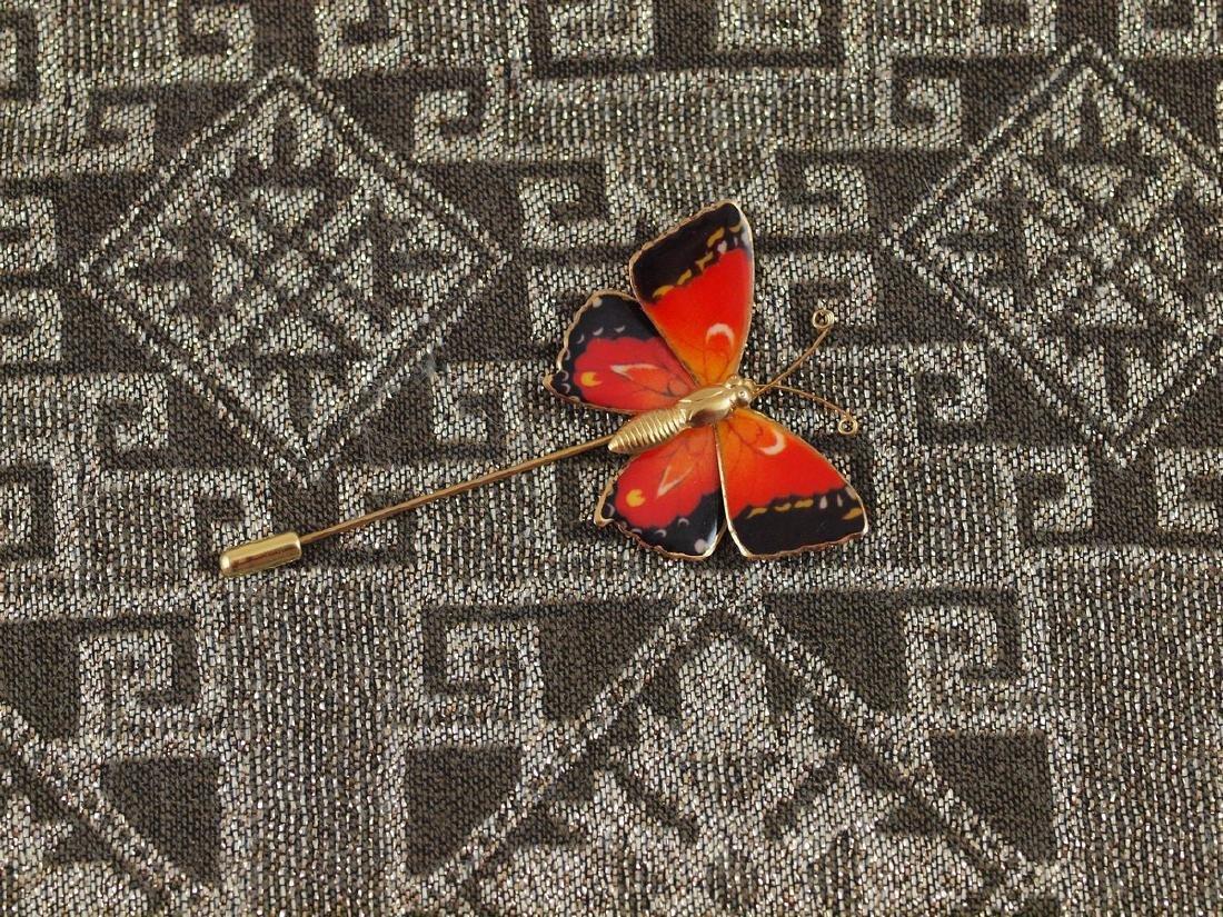 Vintage Brooch Butterfly Wings With Enamel