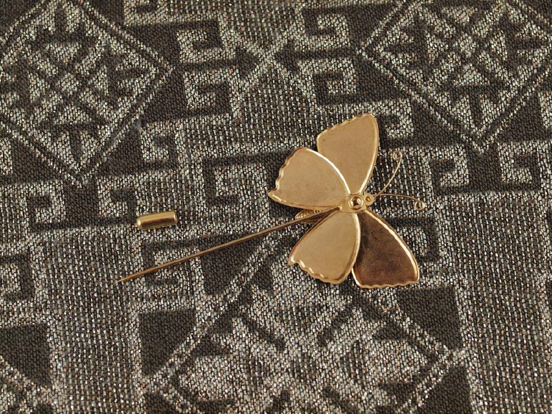 Vintage Brooch Butterfly Wings With Enamel - 2