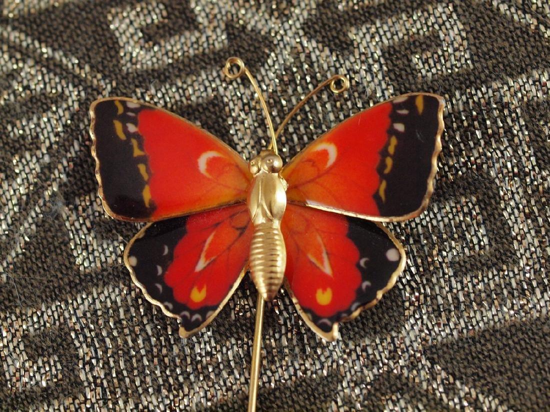 Vintage Brooch Butterfly Wings With Enamel - 3