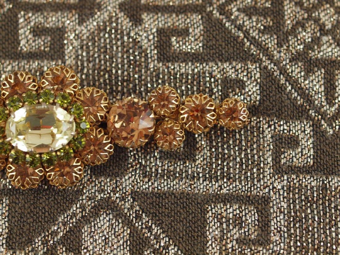 Vintage Decorated Crystal Brooch - 5