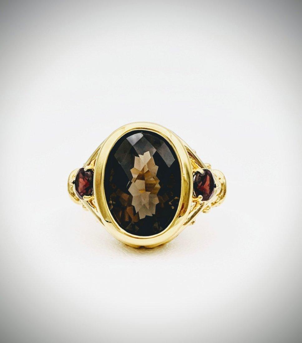 Gold Plated Sterling Silver Smoky Quartz Garnet Ring
